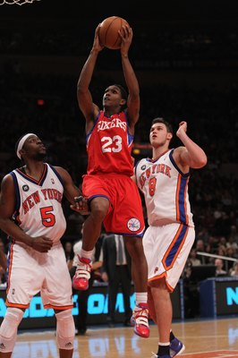 NEW YORK - MARCH 19:  Louis Williams #23 of the Philadelphia 76ers   against the New York Knicks at Madison Square Garden on March 19, 2010 in New York City. NOTE TO USER: User expressly acknowledges and agrees that, by downloading and or using this photo