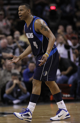 SAN ANTONIO - APRIL 29:  Forward Caron Butler #4 of the Dallas Mavericks after being called for a technical foul against the San Antonio Spurs in Game Six of the Western Conference Quarterfinals during the 2010 NBA Playoffs at AT&T Center on April 29, 201