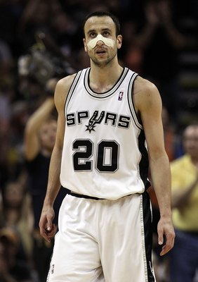 SAN ANTONIO - MAY 09:  Guard Manu Ginobili #20 of the San Antonio Spurs in Game Four of the Western Conference Semifinals during the 2010 NBA Playoffs at AT&T Center on May 9, 2010 in San Antonio, Texas. NOTE TO USER: User expressly acknowledges and agree