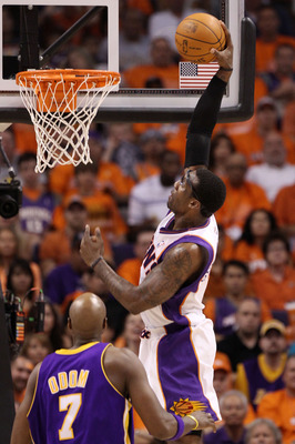 PHOENIX - MAY 29:  Amar'e Stoudemire #1 of the Phoenix Suns goes to dunk the ball against the Los Angeles Lakers in the third quarter of Game Six of the Western Conference Finals during the 2010 NBA Playoffs at US Airways Center on May 29, 2010 in Phoenix