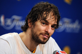 LOS ANGELES, CA - JUNE 17:  Pau Gasol #16 of the Los Angeles Lakers speaks during the post game news conference as he celebrates after the Lakers defeated the Boston Celtics 83-79 in Game Seven of the 2010 NBA Finals at Staples Center on June 17, 2010 in