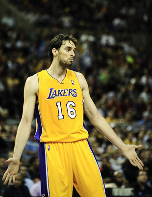 BARCELONA, SPAIN - OCTOBER 07:  Pau Gasol #16 of the Los Angeles Lakers looks on during the NBA Europe Live match between Los Angeles Lakers and Regal FC Barcelona at the at Palau Blaugrana on October 7, 2010 in Barcelona, Spain.  (Photo by David Ramos/Ge