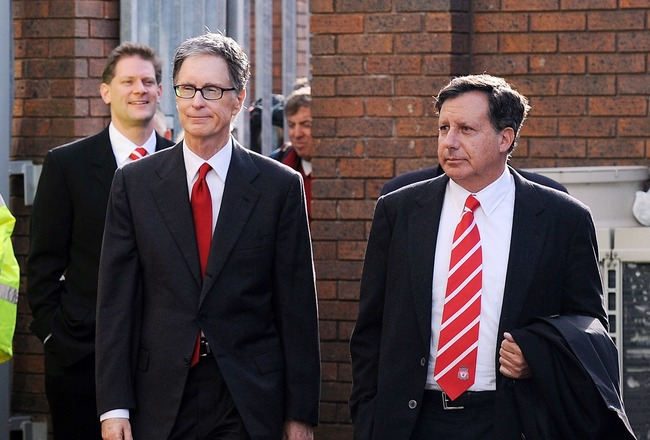 LIVERPOOL, ENGLAND - OCTOBER 17:  (THE SUN OUT) (SALES OUT)  In this handout image supplied by Liverpool Football Club, John W Henry and Thomas Werner the new NESV co-owners of Liverpool Football Club arrive for the Barclays Premier League match between E