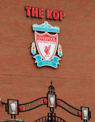 LIVERPOOL, ENGLAND - OCTOBER 15:  A view of the Paisley Gateway at Anfield the home of Liverpool Football Club on October 15, 2010 in Liverpool, England. The future ownership of the famous football club had been subject to legal injunctions in the UK and