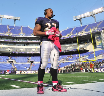 BALTIMORE, MD - OCTOBER 10:  Ray Rice #27 of the Baltimore Ravens does a TV interview after the game  against the Denver Broncos at M&T Bank Stadium on October 10, 2010 in Baltimore, Maryland. Players wore pink in recognition of Breast Cancer Awareness Mo