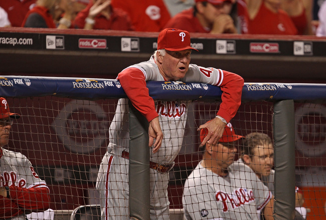 CINCINNATI - OCTOBER 10: Manager Charlie Manuel #41 of the Philadelphia Phillies watches as his team takes on the Cincinnati Reds during game 3 of the NLDS at Great American Ball Park on October 10, 2010 in Cincinnati, Ohio. The Phillies defeated the Reds