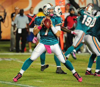 MIAMI - OCTOBER 4: Chad Henne #7 of the Miami Dolphins passes against the New England Patriots at Sun Life Field on October 4, 2010 in Miami, Florida. (Photo by Scott Cunningham/Getty Images)