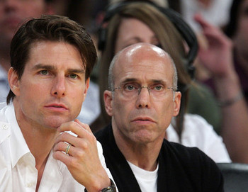 Katzenberg (right) with Tom Cruise
