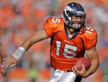 DENVER - OCTOBER 17:  Quarterback Tim Tebow #15 of the Denver Broncos runs for a touchdown against the New York Jets at INVESCO Field at Mile High on October 17, 2010 in Denver, Colorado.  (Photo by Justin Edmonds/Getty Images)