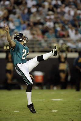 JACKSONVILLE, FL - AUGUST 19:  Punter Chris Hanson #2 of the Jacksonville Jaguars kicks against the Carolina Panthers during the NFL game on August 19, 2006 at Alltel Stadium in Jacksonville, Florida.  The Panthers defeated the Jaguars 17 - 10.  (Photo by
