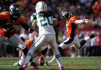 DENVER - OCTOBER 17:  Kicker Matt Prater #5 of the Denver Broncos successfully makes a 59-yard field goal in the first half against the New York Jets at INVESCO Field at Mile High on October 17, 2010 in Denver, Colorado.  (Photo by Justin Edmonds/Getty Im