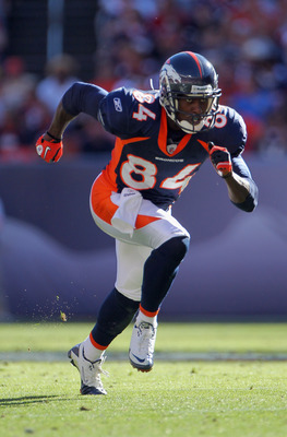 DENVER - SEPTEMBER 19:  Wide receiver Brandon Lloyd #84 of the Denver Broncos leaves the line of scrimmage against the Seattle Seahawks at INVESCO Field at Mile High on September 19, 2010 in Denver, Colorado. The Broncos defeated the Seahawks 31-14.  (Pho