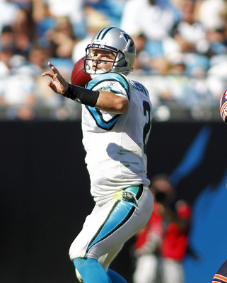 CHARLOTTE, NC - OCTOBER 10: Quarterback Jimmy Clausen #2 of the Carolina Panthers passes the ball against the Chicago Bears at Bank of America Stadium on October 10, 2010 in Charlotte, North Carolina. (Photo by Geoff Burke/Getty Images)