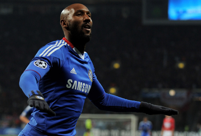 MOSCOW - OCTOBER 19:  Nicolas Anelka of Chelsea celebrates scoring his team's second goal during the UEFA Champions League Group F match between Spartak Moscow and Chelsea at the Luzhniki Stadium on October 19, 2010 in Moscow, Russia.  (Photo by Michael R