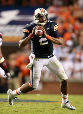 AUBURN, AL - SEPTEMBER 25:  Quarterback Cameron Newton #2 of the Auburn Tigers against the South Carolina Gamecocks at Jordan-Hare Stadium on September 25, 2010 in Auburn, Alabama.  (Photo by Kevin C. Cox/Getty Images)