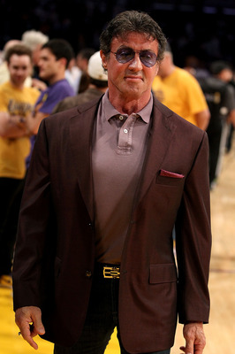 LOS ANGELES, CA - JUNE 06:  Actor Sylvester Stallone attends  Game Two of the 2010 NBA Finals between the Boston Celtics and the Los Angeles Lakers at Staples Center on June 6, 2010 in Los Angeles, California. NOTE TO USER: User expressly acknowledges and