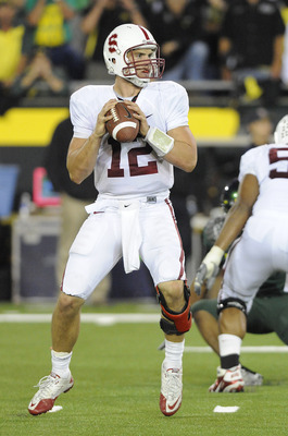 EUGENE, OR - OCTOBER 2: Quarterback Andrew Luck #12 of the Stanford Cardinal looks for an open receiver in the third quarter of the game against the Oregon Ducks at Autzen Stadium on October 2, 2010 in Eugene, Oregon. Oregon won the game 52-31. (Photo by