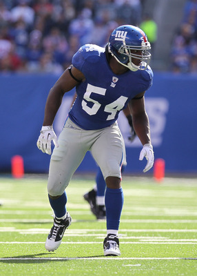 EAST RUTHERFORD, NJ - OCTOBER 17:  Jonathan Goff #54  of the New York Giants against the Detroit Lions at New Meadowlands Stadium on October 17, 2010 in East Rutherford, New Jersey.  (Photo by Nick Laham/Getty Images)