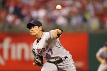 PHILADELPHIA - SEPTEMBER 25: Relief pitcher Hisanori Takahashi #47 of the New York Mets throws a pitch during a game against the Philadelphia Phillies at Citizens Bank Park on September 25, 2010 in Philadelphia, Pennsylvania. The Mets won 5-2. (Photo by H