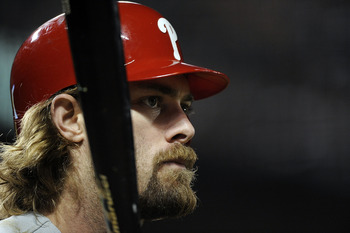 SAN FRANCISCO - OCTOBER 20:  Jayson Werth #28 of the Philadelphia Phillies looks on during an at-bat against the San Francisco Giants in the eighth inning of Game Four of the NLCS during the 2010 MLB Playoffs at AT&T Park on October 20, 2010 in San Franci