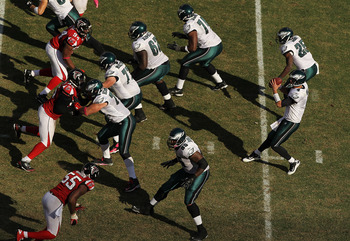 The Eagles' offensive line did a great job against the Falcons.