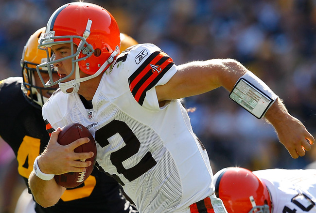 PITTSBURGH - OCTOBER 17:  Colt McCoy #12 of the Cleveland Browns scambles away from the Pittsburgh Steelers defense during the game on October 17, 2010 at Heinz Field in Pittsburgh, Pennsylvania.  (Photo by Jared Wickerham/Getty Images)