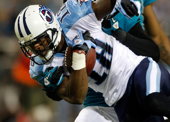 JACKSONVILLE, FL - OCTOBER 18:  Receiver Kenny Britt #18 of the Tennessee Titans scores a touchdown against the Jacksonville Jaguars during the game at EverBank Field on October 18, 2010 in Jacksonville, Florida.  (Photo by J. Meric/Getty Images)