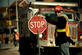 A construction worker with a Stop sign slows cars down, so defensive lines will slow down as well, right?