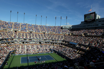 NEW YORK - SEPTEMBER 11:  A general view of Arthur Ashe Stadium is seen during the men's singles semifinal match between Roger Federer of Switzerland and Novak Djokovic of Serbia on day thirteen of the 2010 U.S. Open at the USTA Billie Jean King National