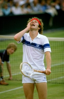1981:  John McEnroe of the USA dispairs during Wimbledon in London, England. \ Mandatory Credit: Tony Duffy /Allsport