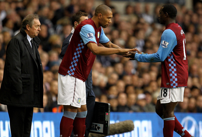 LONDON, ENGLAND - OCTOBER 02:  John Carew of Aston Villa comes on for Emile Heskey of Aston Villa during the Barclays Premier League match between Tottenham Hotspur and Aston Villa at White Hart Lane on October 2, 2010 in London, England.  (Photo by Paul