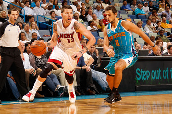 NEW ORLEANS - OCTOBER 13:  Mike Miller #13 of the Miami Heat in action against the New Orleans Hornets at the New Orleans Arena on October 13, 2010 in New Orleans, Louisiana.  NOTE TO USER: User expressly acknowledges and agrees that, by downloading and/o