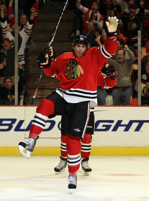 CHICAGO - OCTOBER 20: Viktor Stalberg #25 of the Chicago Blackhawks celebrates a 1st period goal aganst the Vancouver Canucks at the United Center on October 20, 2010 in Chicago, Illinois. (Photo by Jonathan Daniel/Getty Images)