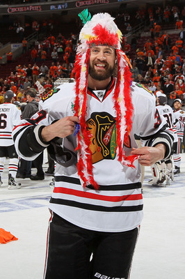 PHILADELPHIA - JUNE 09:  Adam Burish #37 of the Chicago Blackhawks celebrates after the Blackhawks defeated the Philadelphia Flyers 4-3 in overtime to win the Stanley Cup in Game Six of the 2010 NHL Stanley Cup Final at the Wachovia Center on June 9, 2010