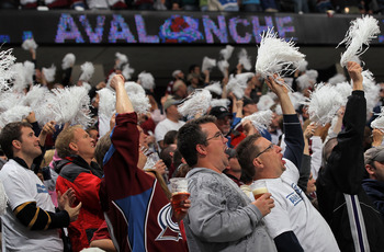 DENVER - APRIL 24:  Colorado Avalanche fans celebrate Marek Svatos' second period goal to tie the score 1-1 with the San Jose Sharks during Game Six of the Western Conference Quaterfinals of the 2010 Stanley Cup Playoffs at the Pepsi Center on April 24, 2