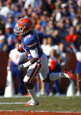 GAINESVILLE, FL - NOVEMBER 22:  Janoris Jenkins #29 of the Florida Gators runs for yardage during the game against the Citadel Bulldogs at Ben Hill Griffin Stadium on November 22, 2008 in Gainesville, Florida.  (Photo by Sam Greenwood/Getty Images)