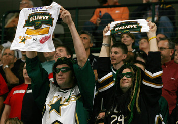 DALLAS - MAY 14:  Dallas Stars fans hold up 'Believe' towels against the Detroit Red Wings during game four of the Western Conference Finals of the 2008 NHL Stanley Cup Playoffs on May 14, 2008 at the American Airlines Center in Dallas, Texas.  (Photo by