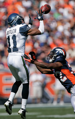 DENVER - SEPTEMBER 19:  Wide receiver Deon Butler #11 of the Seattle Seahawks makes a reception against cornerback Perrish Cox #32 of the Denver Broncos during NFL action at INVESCO Field at Mile High on September 19, 2010 in Denver, Colorado.  (Photo by