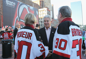 NEWARK, NJ - OCTOBER 08: New Jersey Devils team owner Jeff Vanderbeek meets with fans prior to the season opening game against the Dallas Stars at the Prudential Center on October 8, 2010 in Newark, New Jersey.  (Photo by Bruce Bennett/Getty Images)