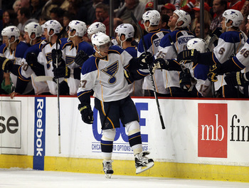 CHICAGO - OCTOBER 18: David Perron #57 of the St. Louis Blues celebrates his 2nd period goal with teammates against the Chicago Blackhawks at the United Center on October 18, 2010 in Chicago, Illinois. (Photo by Jonathan Daniel/Getty Images)
