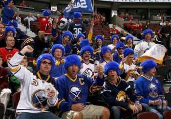 OTTAWA, ON - OCTOBER 08:  A large group of Buffalo Sabres fans invade the stands before a game against the Ottawa Senators at Scotiabank Place on October 8, 2010 in Ottawa, Ontario,  Canada. The Buffalo Sabres defeated the Ottawa Senators 2-1. (Photo by P