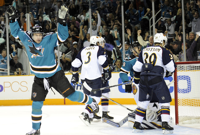 SAN JOSE, CA - OCTOBER 16: Dany Heatley #15 of of the San Jose Sharks throws his hand in the air after scoring his 300th career goal  against the Atlanta Thrashers at the HP Pavilion October 16, 2010 in San Jose, California. (Photo by Thearon W. Henderson