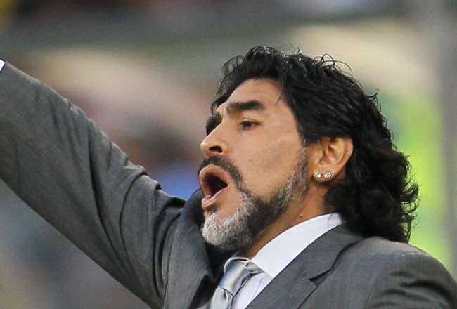CAPE TOWN, SOUTH AFRICA - JULY 03:  Diego Maradona head coach of Argentina gestures during the 2010 FIFA World Cup South Africa Quarter Final match between Argentina and Germany at Green Point Stadium on July 3, 2010 in Cape Town, South Africa.  (Photo by