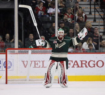 ST PAUL, MN - OCTOBER 16:  Goaltender Niklas Backstrom #32 of the Minnesota Wild puts his arms up in disbelief after the go ahead goal by the Columbus Blue Jackets was allowed during the third period at Xcel Energy Center on October 16, 2010 in St Paul, M