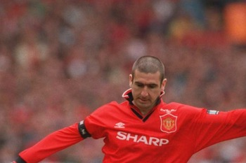 11 May 1996:  Eric Cantona of Man Utd goes past John Scales of Liverpool during the 1996 FA Cup Final between Manchester United v Liverpool at Wembley Stadium, London. Mandatory Credit: Clive Brunskill/ALLSPORT