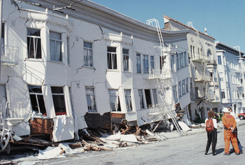 SAN FRANCISCO - OCTOBER 17:  General view of the Marina district disaster zone after an earthquake, measuring 7.1 on the richter scale, rocks game three of the World Series between the Oakland A's and San Francisco Giants at Candlestick Park on October 17