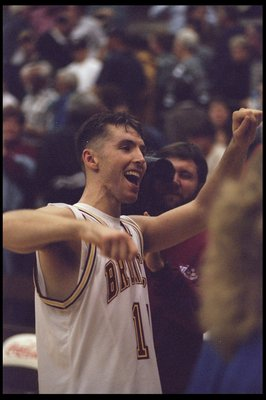 12 Dec 1995: Guard Steve Nash celebrates during a game against the Fresno State Bulldogs at Toso Pavilion in Santa Clara, California. Santa Clara won the game, 66-58.