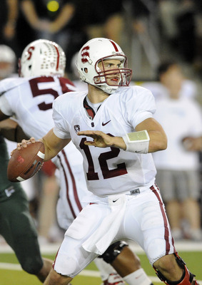 EUGENE, OR - OCTOBER 2: Quarterback Andrew Luck #12 of the Stanford Cardinal sets to throw a pass in the third quarter of the game against the Oregon Ducks at Autzen Stadium on October 2, 2010 in Eugene, Oregon. Oregon won the game 52-31. (Photo by Steve