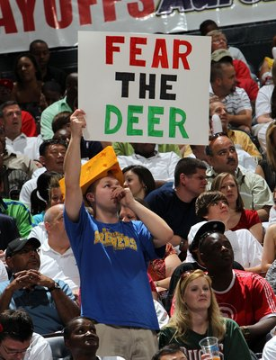 ATLANTA - MAY 2:  A fan holds up a 'Fear the Deer' sign during Game Seven of the Eastern Conference Quarterfinals between the Milwaukee Bucks and the Atlanta Hawks during the 2010 NBA Playoffs at Philips Arena on May 2, 2010 in Atlanta, Georgia. NOTE TO U