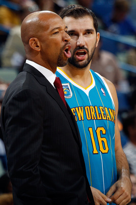 Monty Williams (l) and Peja Stojakovic